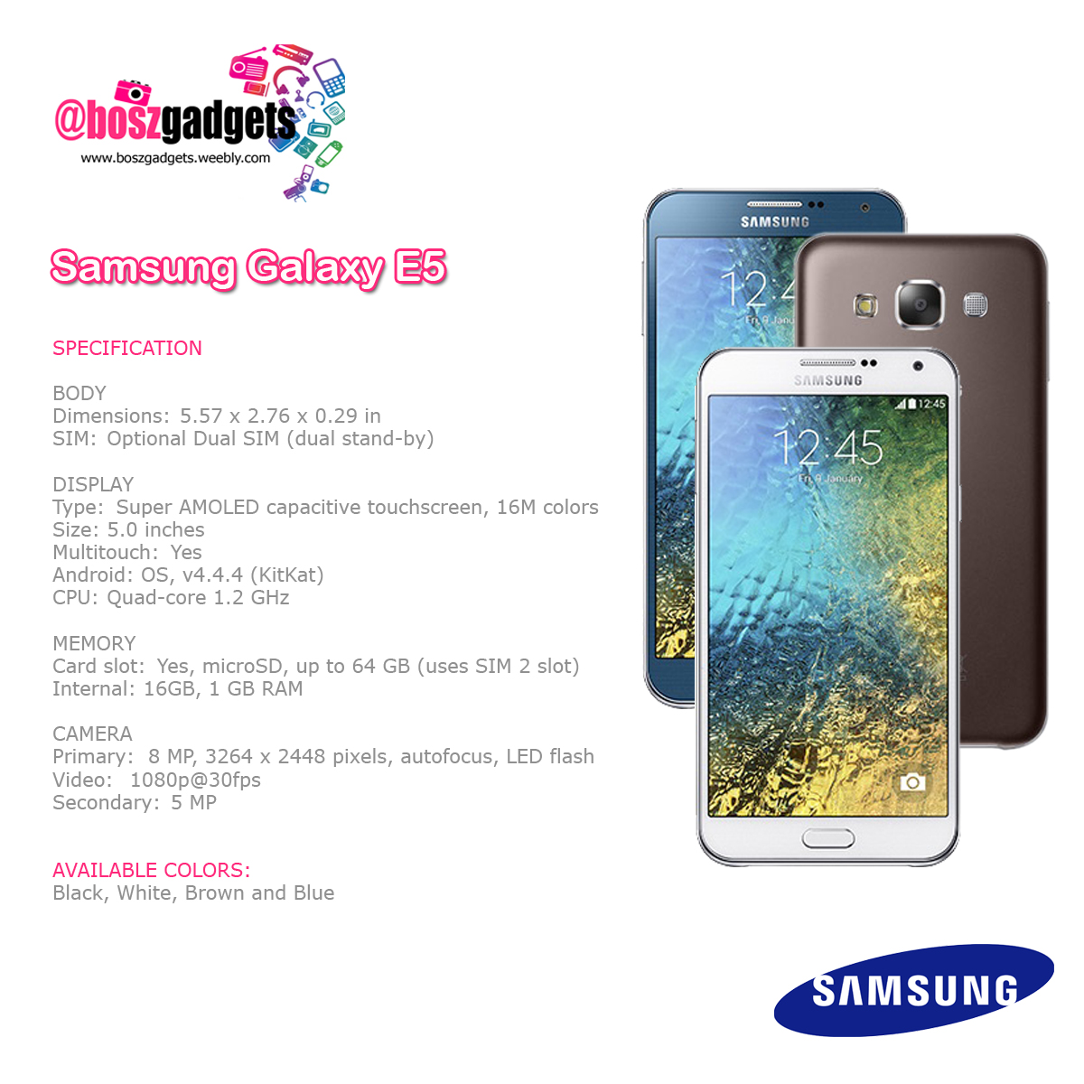 Samsung Galaxy E5 16gb White Products Boszgadgets Php11600 Black Brown And Blue With 3days Replacement 1year Service Warranty